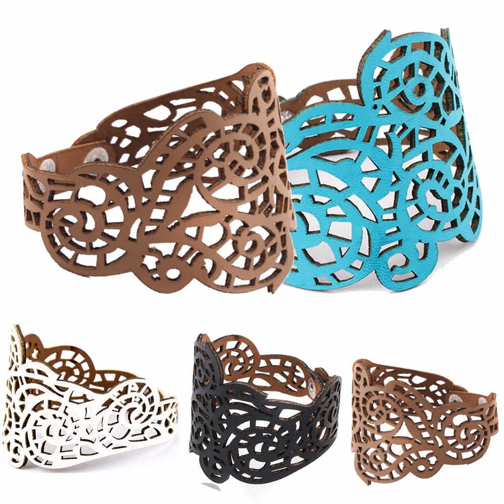 Nieuwe Stijl Vintage Vrouwen Armbanden Punk Style Hollow Out Bloem Brede Armband Manchet Lederen Armband Prachtige Sieraden Polsband