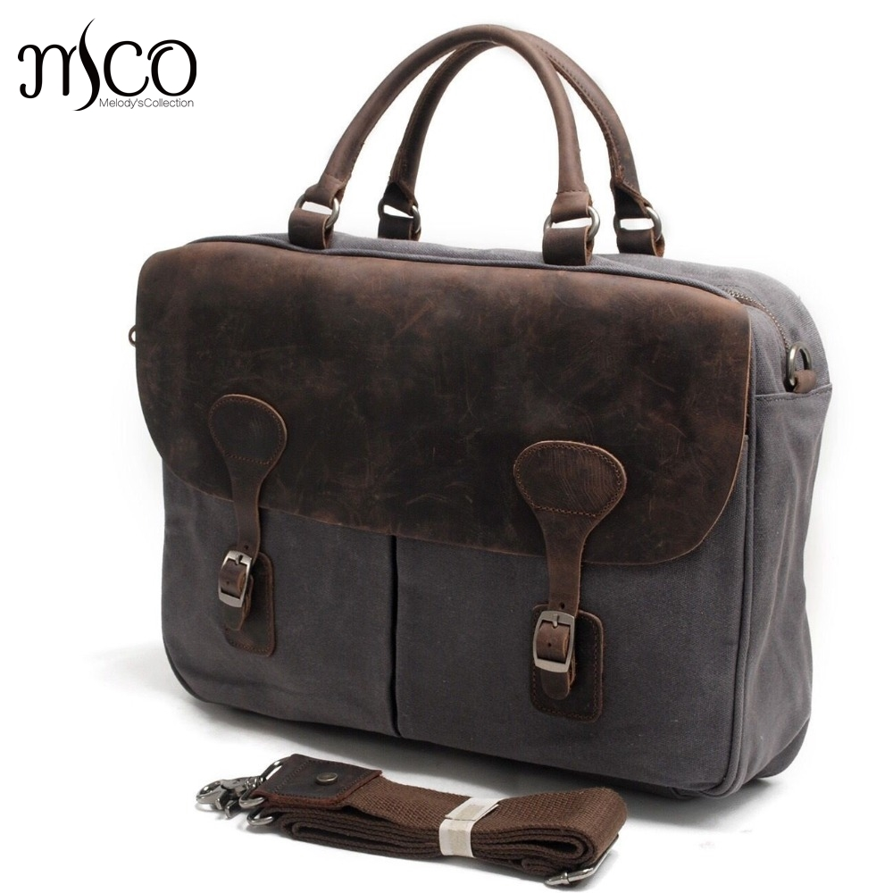 Men Business Briefcase Casual Tote Shoulder Crazy Horse Leather Messenger Bags Computer Laptop Handbag Canvas Men's Travel Bags vintage crossbody bag dark khaki canvas shoulder bags men messenger bag man casual handbag tote business briefcase for computer
