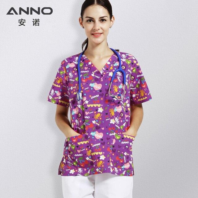 9715a364c4d ANNO Purple Nursing Uniform Medical Scrub Suits Children's Hospital Doctors  Clothing Nurses Wear Beauty Salons Medical Uniforms