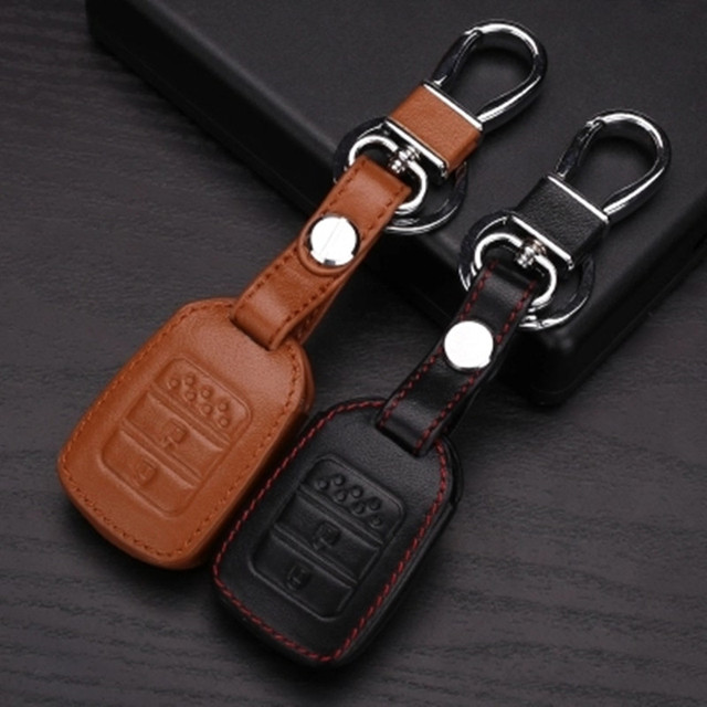 Genuine Leather key chain ring cover case holder shell car styling For Honda XRV XR-V CR-V Fit Pilot Honda Accord Civic
