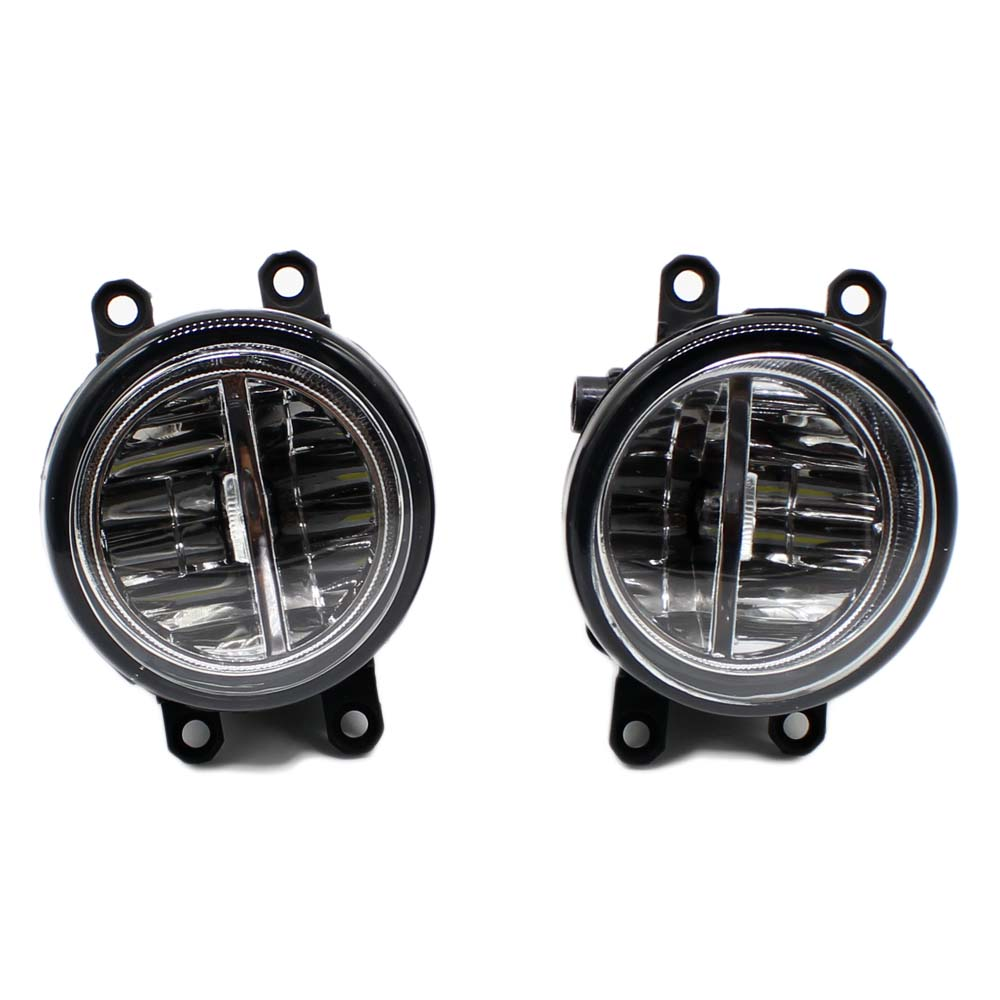 2pcs Car Styling Round Front Bumper LED Fog Lights DRL Daytime Running Driving fog lamps For Toyota Yaris 2006-2013 2pcs car styling round front bumper led fog lights high brightness drl day driving bulb fog lamps for toyota ractis scp10