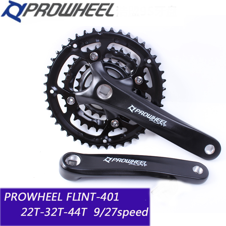 PROWHEEL 401 Mountain Bike MTB Bicycle Crankset Aluminum Alloy 44T 9/27 speed Teeth Chainwheel Crankset Bicycle Crank Sprocket prowheel chariot 53t folding bike road bike crankset 170 crank bicycle chainwheel 170l 170mm for sp8 8s 9s speed
