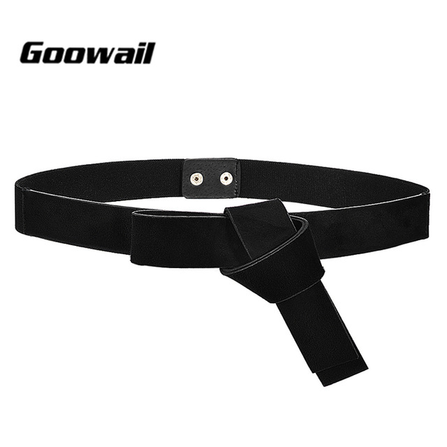 Goowail 2019 fashion pu suede Leather Belts For Women Narrow Elastic European and American style bowknot ladies for strap