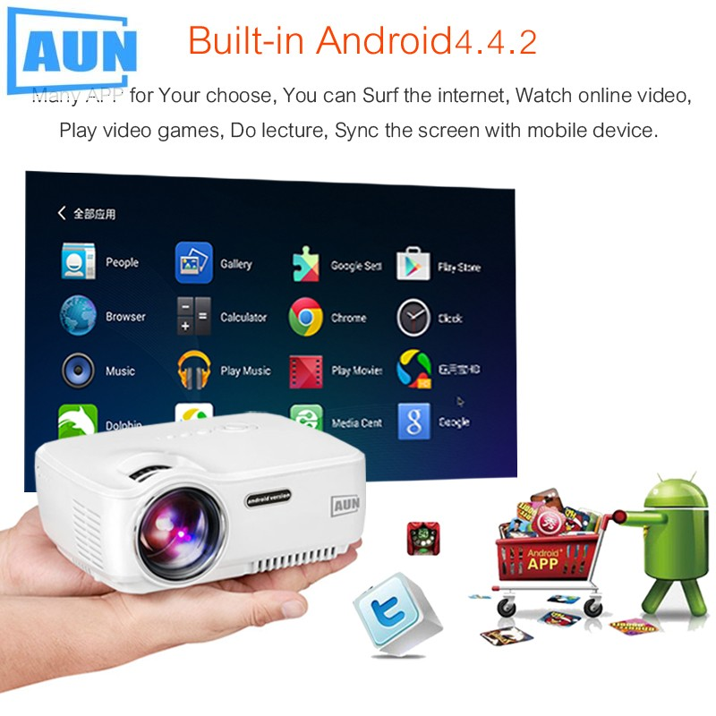 AUN AM01S Wifi Projector Android TV Beamer Miracast Kodi AC3 Support Full HD 1080p Led Home