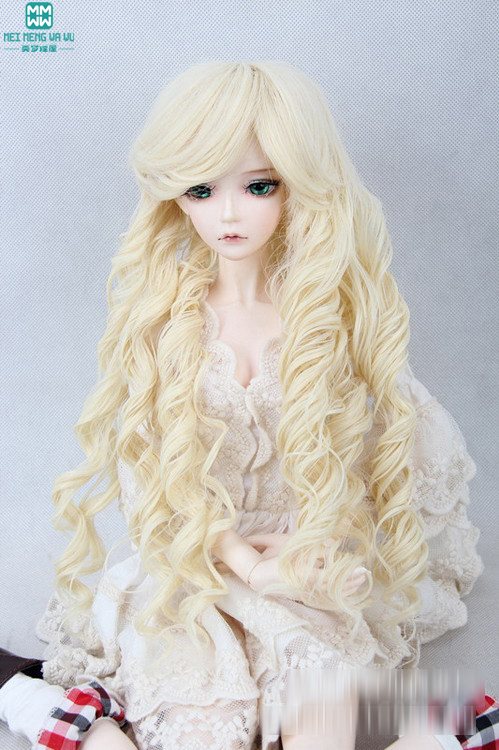 hair for dolls 1/3 1/4 1/6 BJD/SD Doll Wigs Roman light golden brown curls (excluding dolls) 1 3 1 4 1 6 1 8 1 12 bjd wigs fashion light gray fur wig bjd sd short wig for diy dollfie