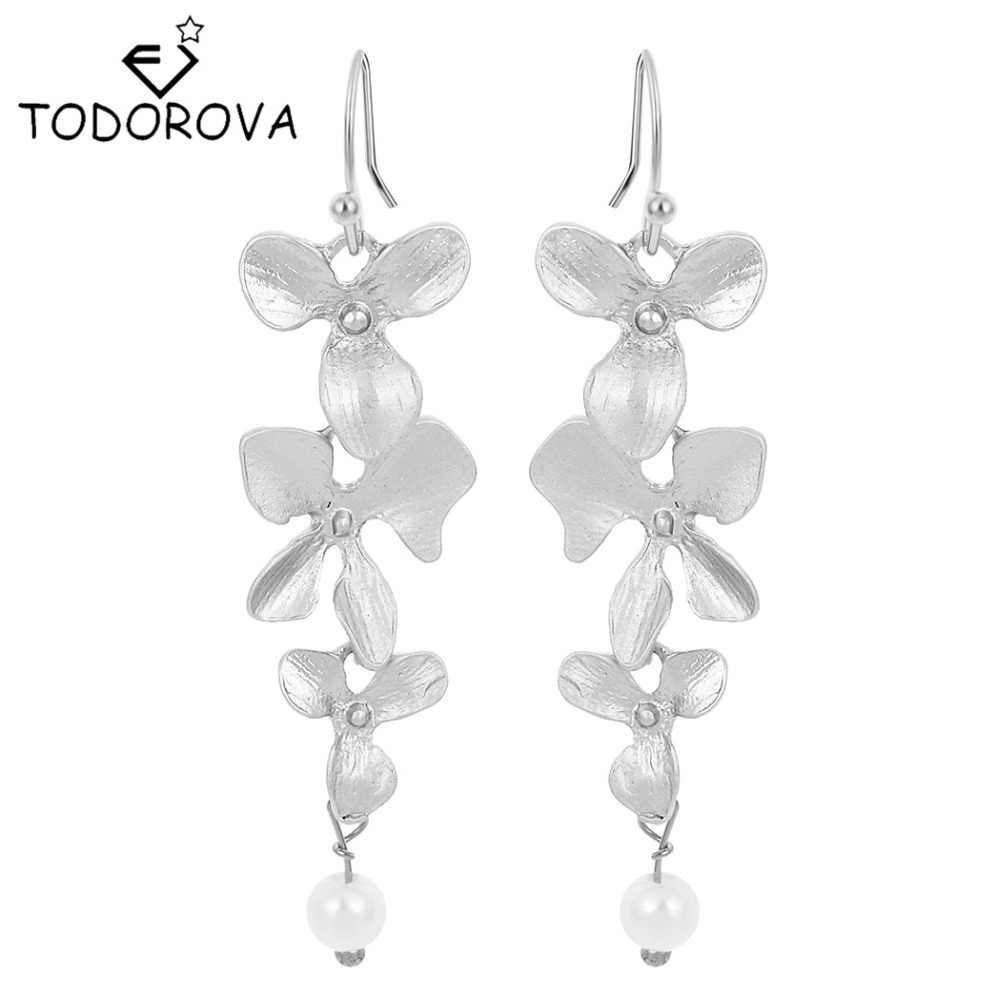 Todorova Orchid Floral Simulated Pearl Long Dangle Earrings Wedding Bridal Party Luxury Vintage Leaf Jewelry
