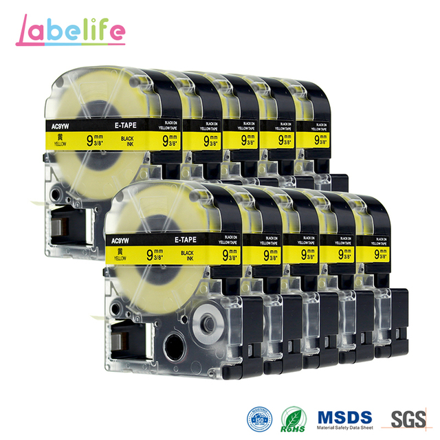 10 Pack SC9Y 9mm Black on Yellow Printer Tape Compatible EPSON Label Printer Ribbon Tape Also For Kingjim TEPRA Tape Printers