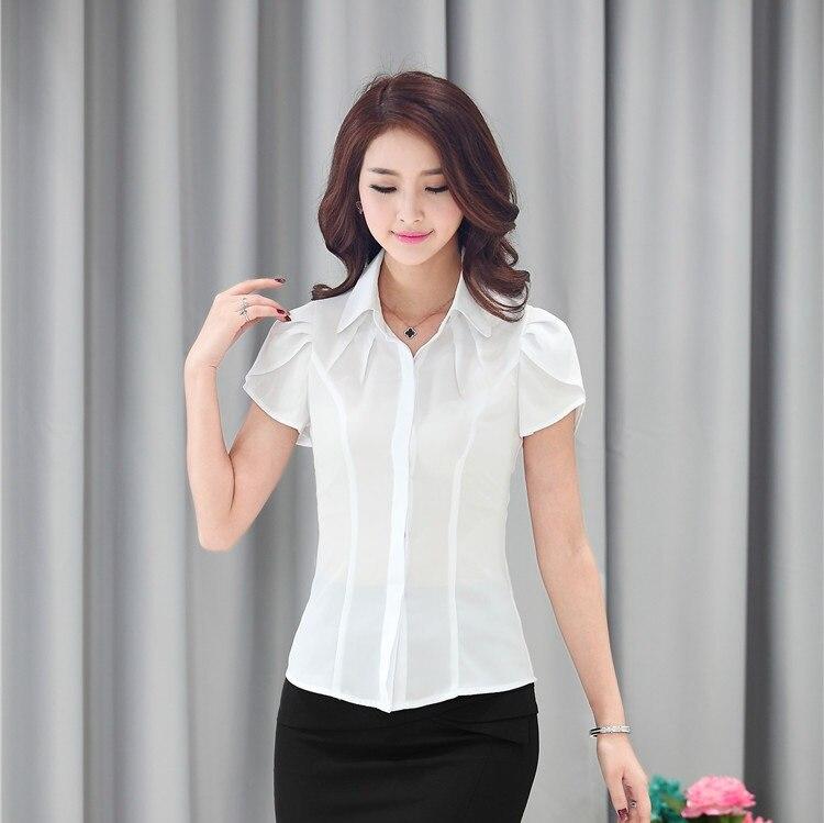 Formal blanco blusas mujeres camisas de verano del