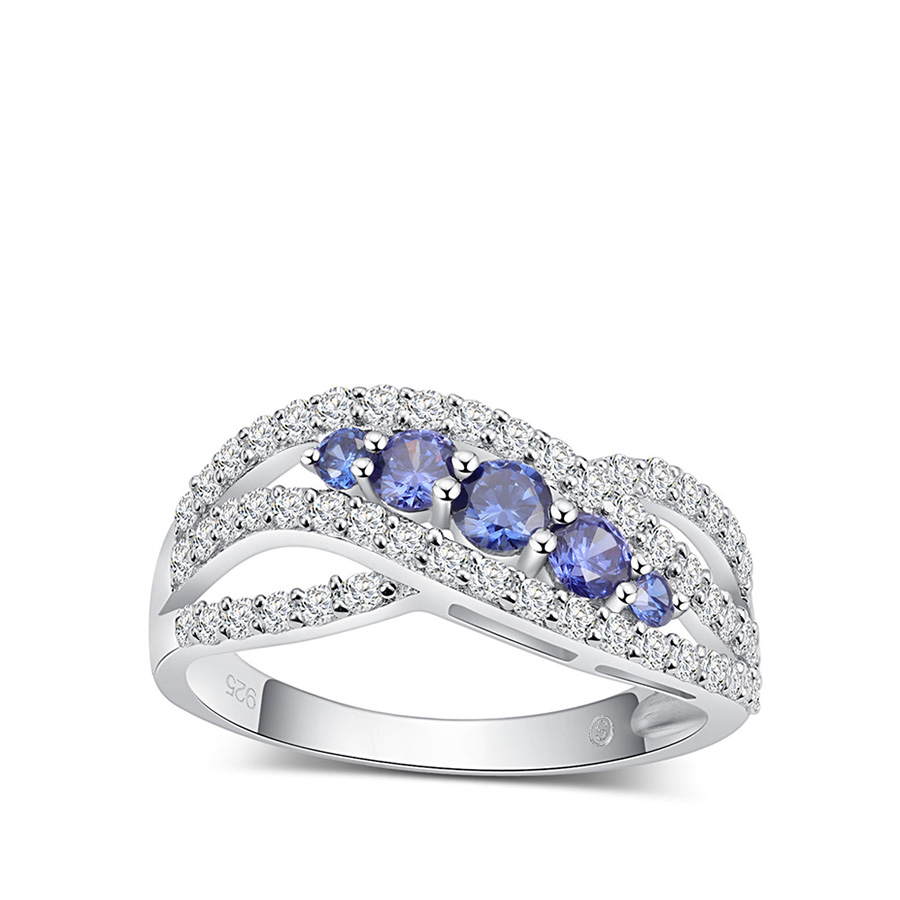 PJC Classic Curved Design Fashion 925 Sterling Silver Tanzanite Engagement Rings Best-selling Rings for Women