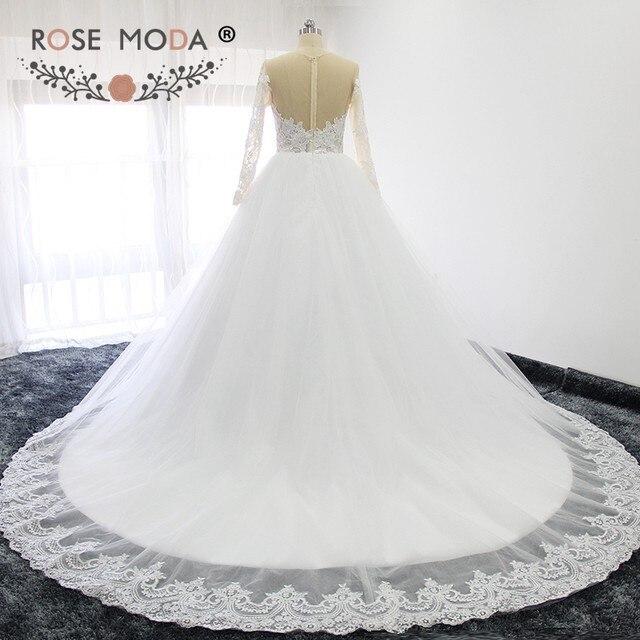 Online Shop Rose Moda High Neck Long Sleeves Princess Wedding Dress ...