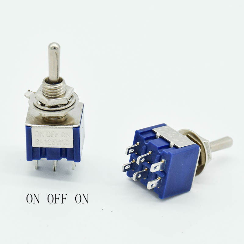 5PCS/LOT  ON-OFF-ON 6 Pin 3 Position Mini Latching Toggle Switch AC 125V/6A 250V/3A SPDT MTS203 SPDT