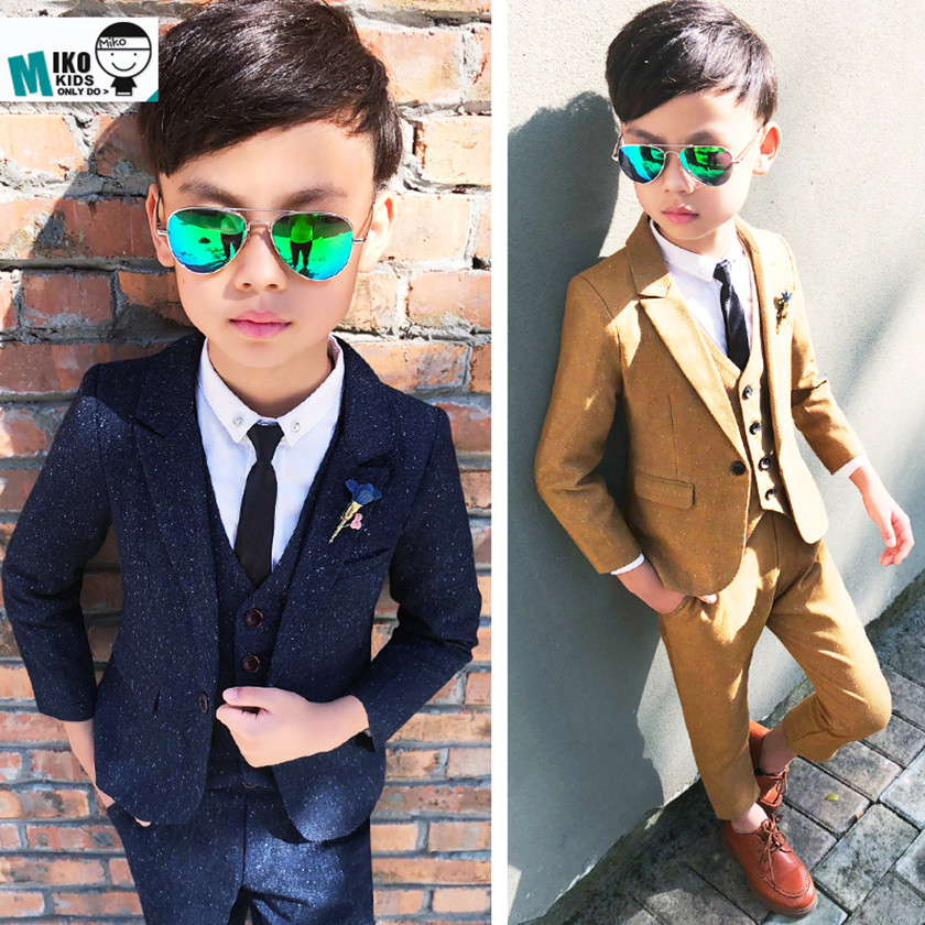 New 2018 Fashion Autumn Striped Kids 3PCS Formal Suits Boys Party Costume Suits Boys Navy Child Blazer Weddings Suit Hot S8O905A
