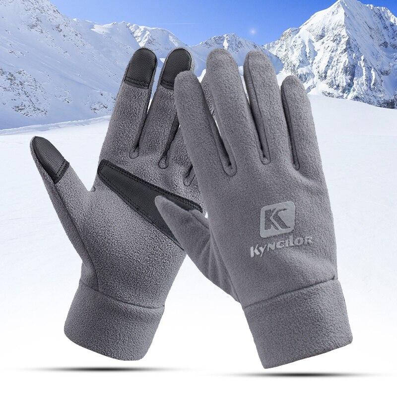 Спортивные водонепроницаемые флисовые мужские и женские лыжные перчатки ветрозащитные термоперчатки с сенсорным экраном для езды на вело...