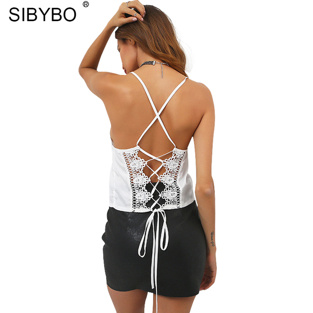 9353b25fa7 Sibybo Sexy Lace Up Halter White Crop Tops Women 2017 Summer Bow Tie Off  Shoulder Cropped