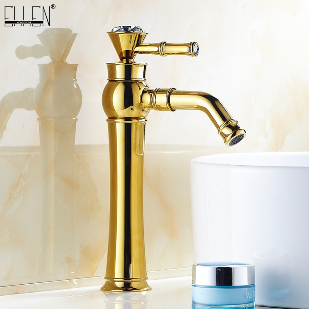 High Bathroom Sink Faucet Basin Faucets Gold Color Deck Mounted Bathroom Mixer Faucets Black Finish With Diamond  ELS1511GHigh Bathroom Sink Faucet Basin Faucets Gold Color Deck Mounted Bathroom Mixer Faucets Black Finish With Diamond  ELS1511G
