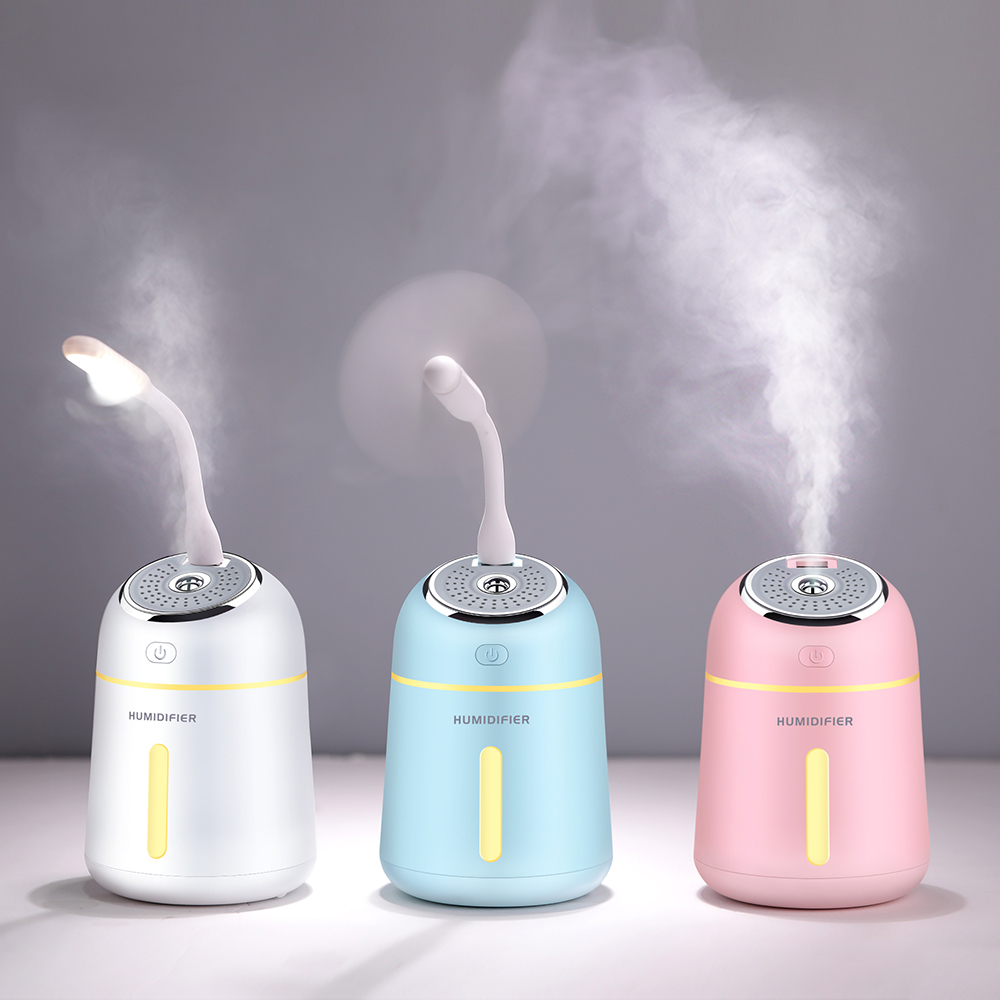 3 In 1 Ultrasonic Air Humidifier 330ml Ultra-Quite Mini LED Light USB Fan Aroma Difusor for Home Car Mini Essential Oil Diffuser цена