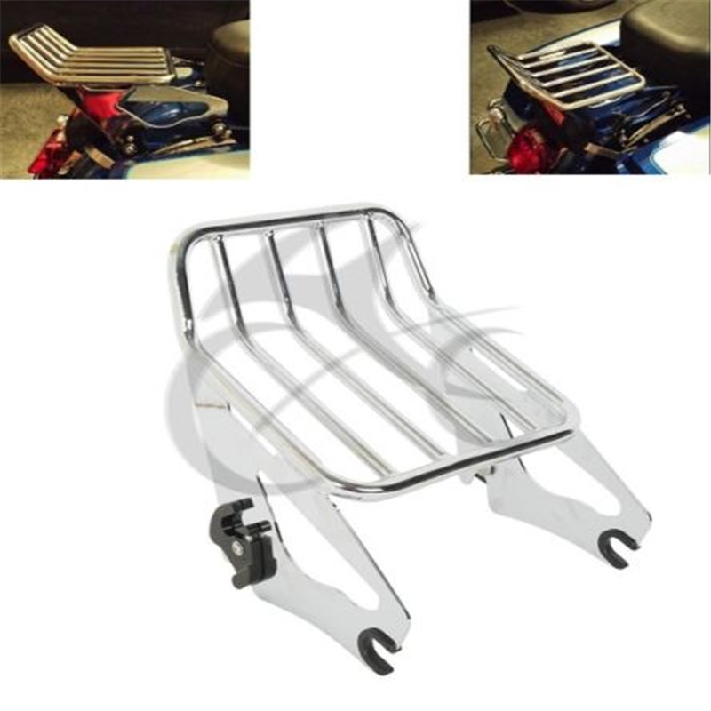 2 Style Detachable Two Up Luggage Rack For Harley Touring Road King FLHR FLHRC FLHX FLTR 2009-2018 Motorcycle chrome motorcycle two up tour pak luggage rack rail case for harley touring flhr flht flhx fltr 2009 2017
