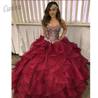 2020 Tiered Ball Gown Quinceanera Dress with Beads Sweet 16 Dress Long Teen Girls Pageant Dress