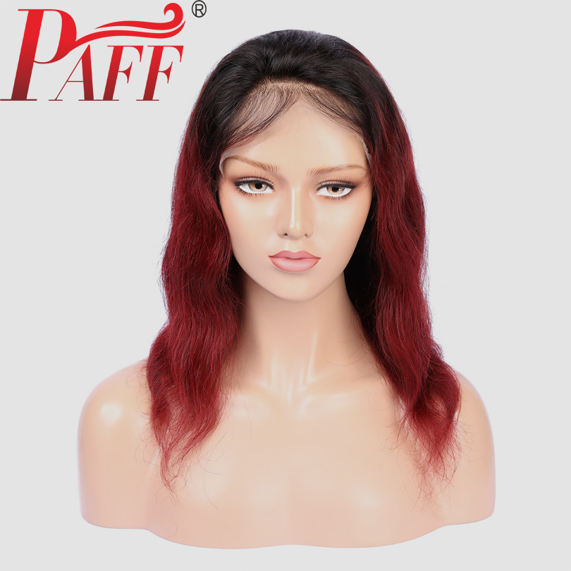PAFF Short Burgundy Lace Front Wig 99j Ombre Color Lace Front Bob Wigs Remy Lace Front Human Hair Wigs Natural Wave