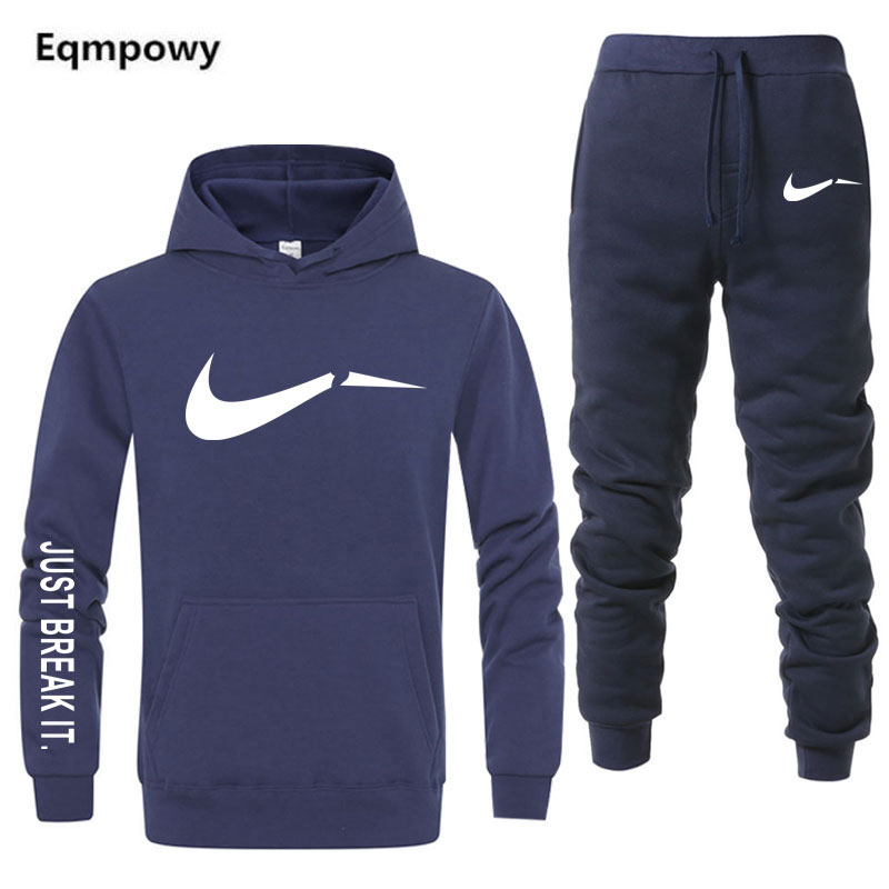 Eqmpowy nuevo deporte traje con capucha de Batman con capucha casuales de los hombres de algodón de otoño/invierno cálido sudaderas casuales de los hombres de chándal traje