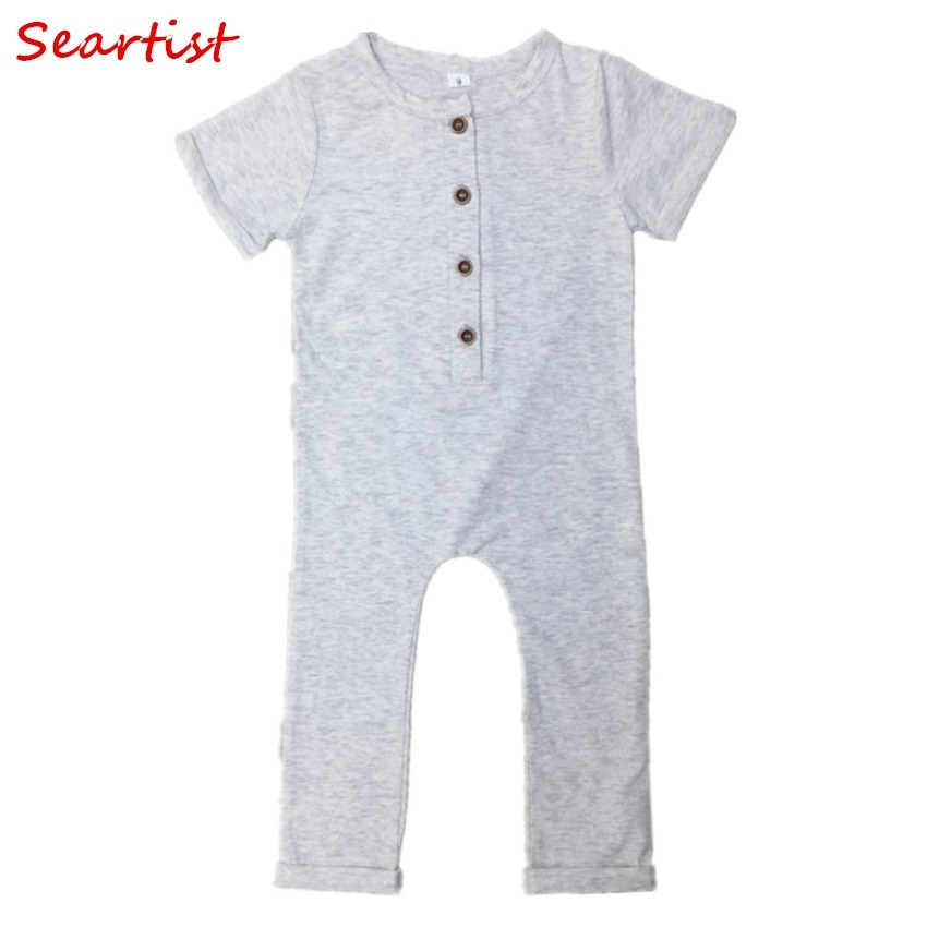 Seartist Baby Boys Summer   Romper   Newborn Plain Pajamas Toddler Short Sleeve Jumpsuit Black Playsuits for Newborns 2019 New 33C