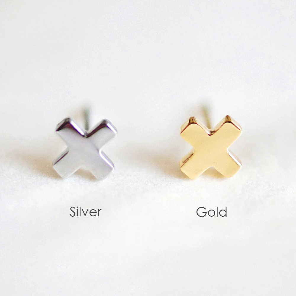 Minimalist Cross Office Stud Earrings for women Sterling Stainless Steel Small Earrings minnie ears Jewelry