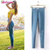 Sales Promotion 2014 New Fashion Skinny Jeans Women High Waist Denim Pancil Pants Elastic Slim Leg