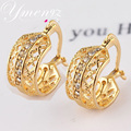 2014 Hot Selling Leaf Shape New Jewelry Gold Plated Austrian Crystal Earrings For Women Party Daily Wear Jewelry Accessories