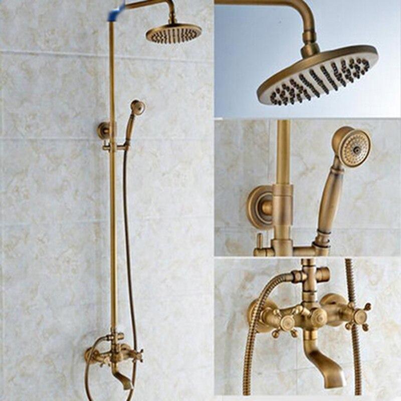 Luxury Antique Wall Mounted 8 Round Rain Shower Head Shower Column W/ Hand Shower Sprayer Tub Spout