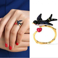 2017 Famous brand ring, Les Adjustable copper swallow ring for women, Nereides enamel curious  swallow ring women gift