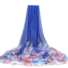 2019 200*150cm Summer Print Silk Scarf Oversized Chiffon Scarf Women Beach Pareo Cover Up Wrap Sarong Sunscreen Long Cape Female(China)