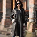 2017 Spring New Long Section Of Female Sheep Skin Jacket Loose Genuine Leather Windbreaker ZY8