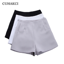 hot deal buy cuhakci high waist wide leg shorts summer shorts women fashion style casual shorts black gray white vintage pockets solid color