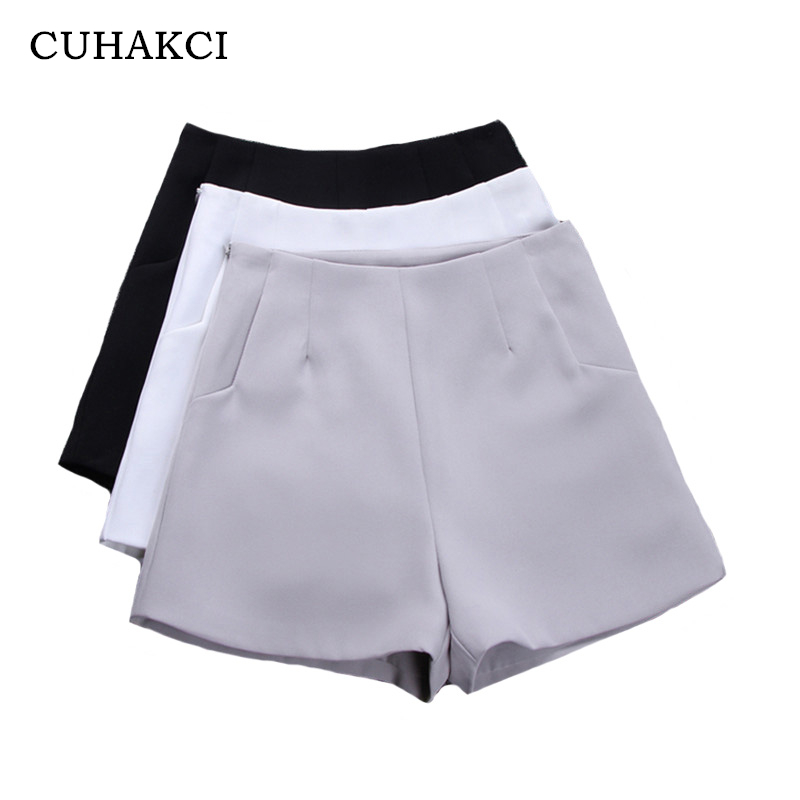 CUHAKCI High Waist Wide Leg   Shorts   Summer   Shorts   Women Fashion Style Casual   Shorts   Black Gray White Vintage Pockets Solid Color