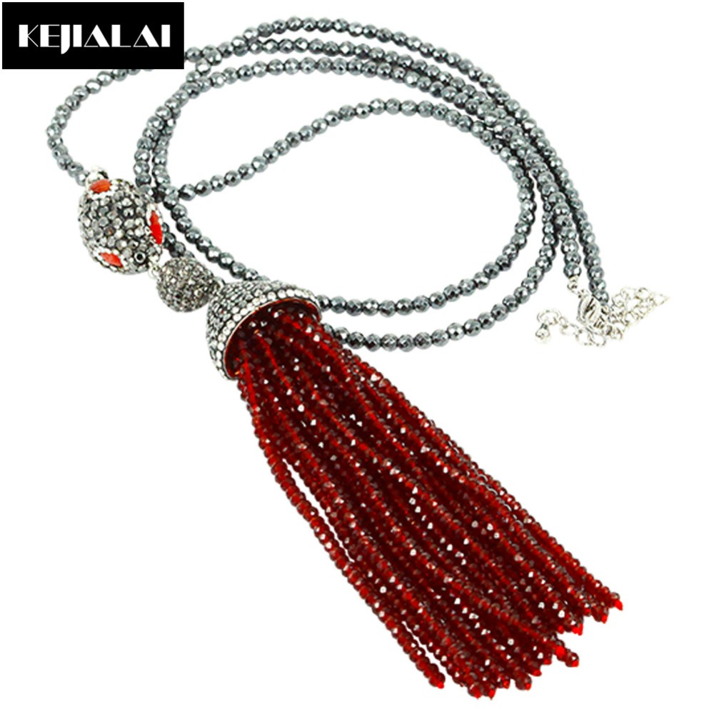 2017 New Arrival Fashion Handmade Tassel Pendant Necklace Glass Crystal Bead Long Tassel Hot Sale Women Necklace Bohemia Jewelry