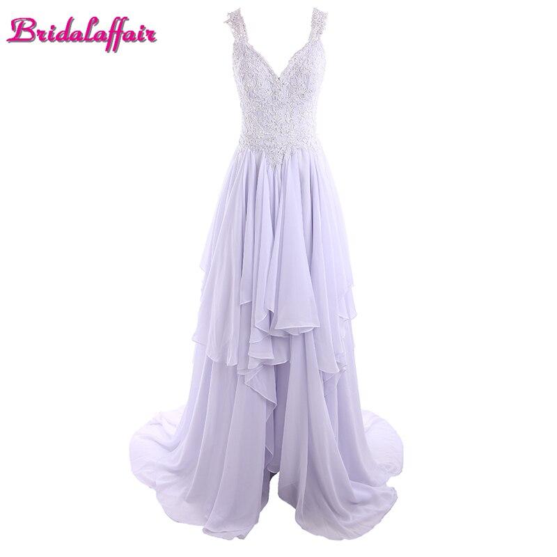 Light Purple Chiffon V Neck Lace   Prom     Dresses   Evening   Dresses   Long 2018 Sweep Train Button Party Gown suknia wieczorowa
