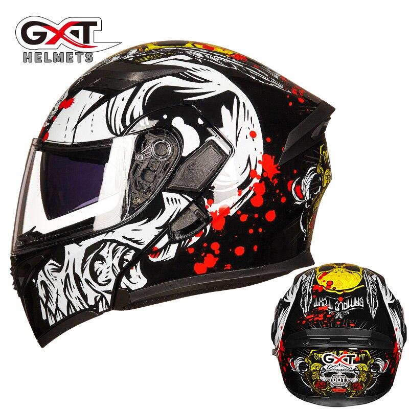 GXT dual lens open face motorcycle helmet full cover flip up motorbike helmets wiht Anti fog