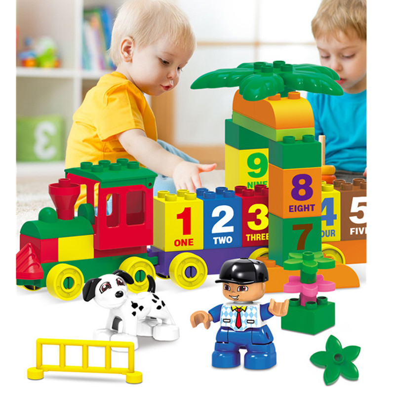 Diy Children Educational Building Blocks Bricks Happy Number Train Compatible with Legoingly Duploe Christmas Gift Toys for Kids baby toys small train vehicle diy building blocks plastic stack number letter matching intelligent toy for children gifts 45pcs