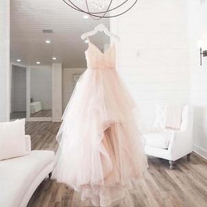 Image 2 - 非対称イブニングドレススパゲッティストラップチュールノースリーブローブ · ド · 夜会女性パーティードレスウエディングドレス 2020 abiye