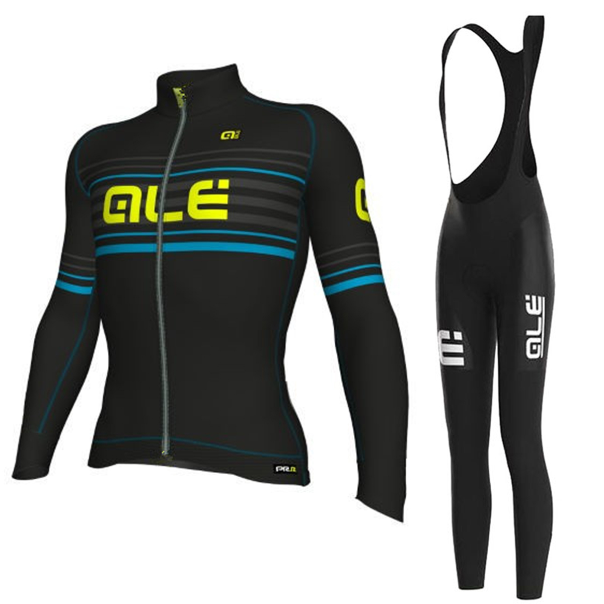 2017 ALE Men`s New Long Sleeve Spring/Autumn Cycling Jersey Set with Bib Short Breathabl ...