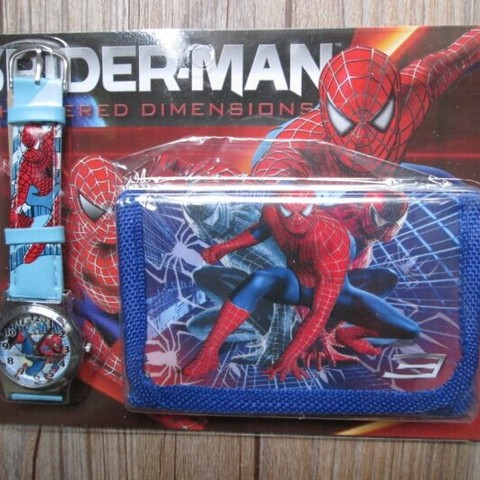1pcs Hot sale! Wholesale New Lot Spiderman sets cartoon kids part Set watch Wristwatch and wallet purse Karachi