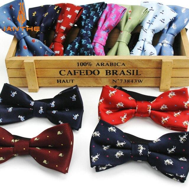 Новый стильный клетчатый Детский галстук-бабочка, галстук-бабочка, галстук-бабочка в классическом стиле для маленьких детей, бабочка в полоску, галстук-бабочка, велосипед с лося, зонтик, собака, автомобиль