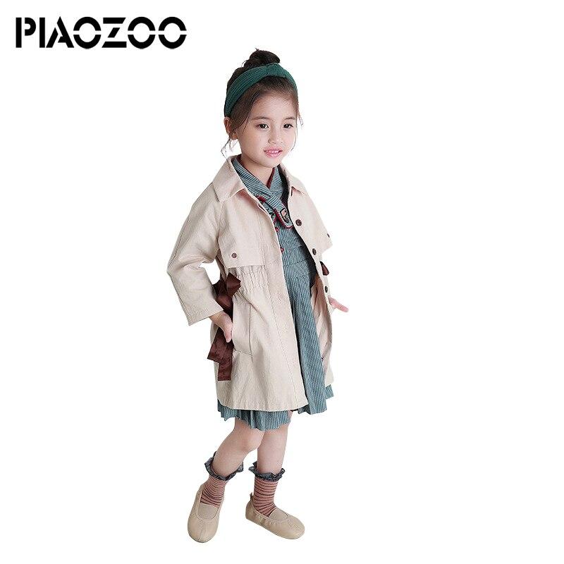 Coreano del bambino di trincea della ragazza cappotti autunno boutique delle ragazze dei capretti lungo jungen trench Turn Imbottiture Collare Tuta Sportiva di Modo cappotto P25