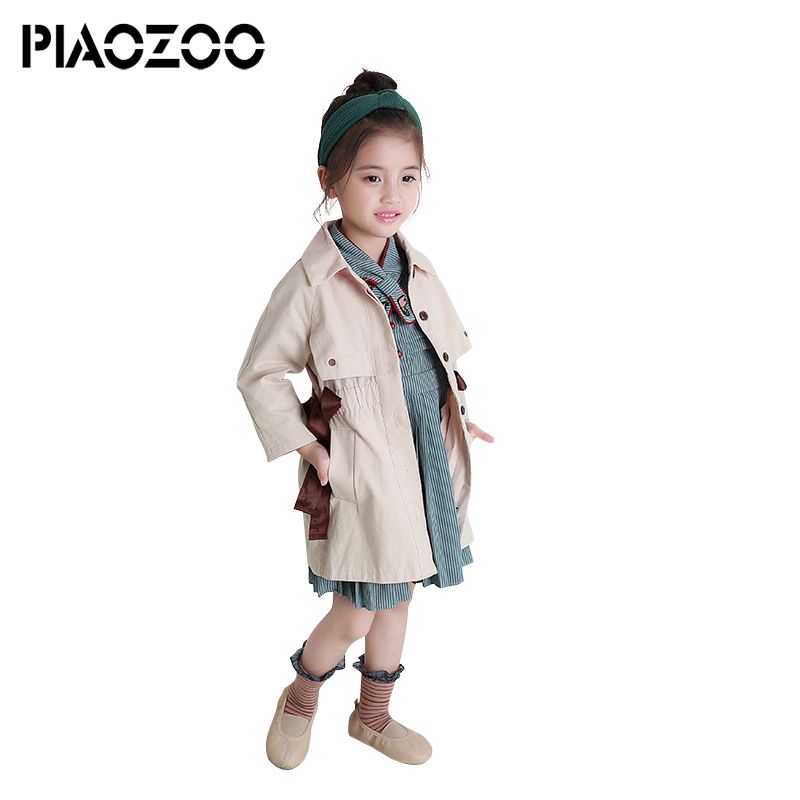Korean baby girl trench coats autumn boutique kids girls long jungen trench coat Turn Down Collar Outerwear Fashion overcoat P25 elegant turn down collar double breasted long sleeve trench coat for women