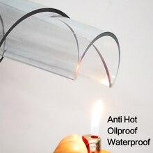 Nappe en PVC souple, nappe imperméable à la chaleur, résistante à lhuile, en plastique, transparente, pour Table à manger moderne/couverture de cuisine