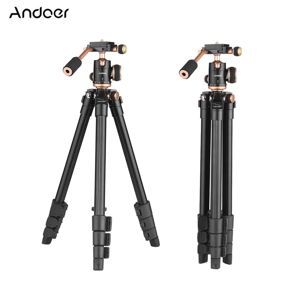 Anoder 124cm/6ft Travel Camera Tripod Stand With Ball Head Quick Release Plate For Canon Nikon Sony DV Aluminum Alloy Black