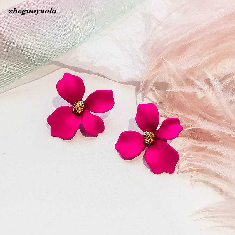 Korean Style Cute Flower Earrings For Women 2019 New Fashion Sweet Earrings Woman Brinco Wholesale Jewelry Colorful Earrings