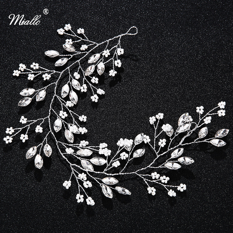 Miallo Crystal with Rhinestone Bridal Hair Vine Jewelry Hair Accessories Headbands Wedding Tiaras and Crowns for Bride