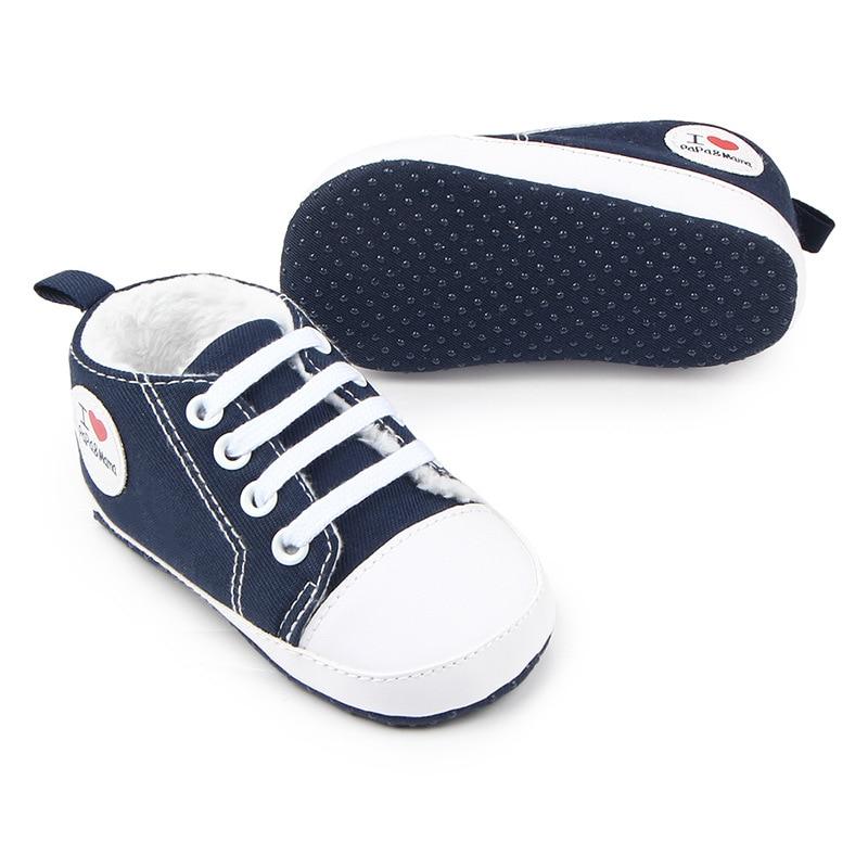 8ce47c39c الشتاء الطفل الأولى مشوا الطفل أحذية أزياء الشتاء الدافئة عدم الانزلاق لينة  أسفل حذاء طفل صغير للأطفال أزياء رياضية