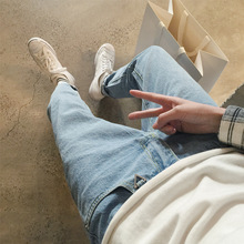 Top quality 2019 Fashion Summer thin Solid blue pencil pants men Denim washing teenagers Boys Ankle Length jeans homme